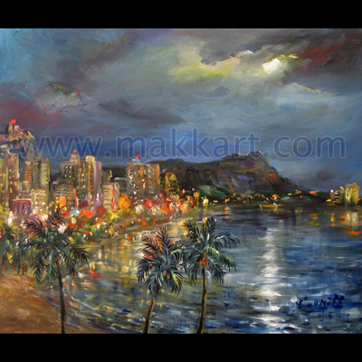Oil painting of Waikiki Beach.